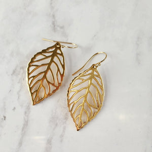 Smooth Leaf Hook Earrings