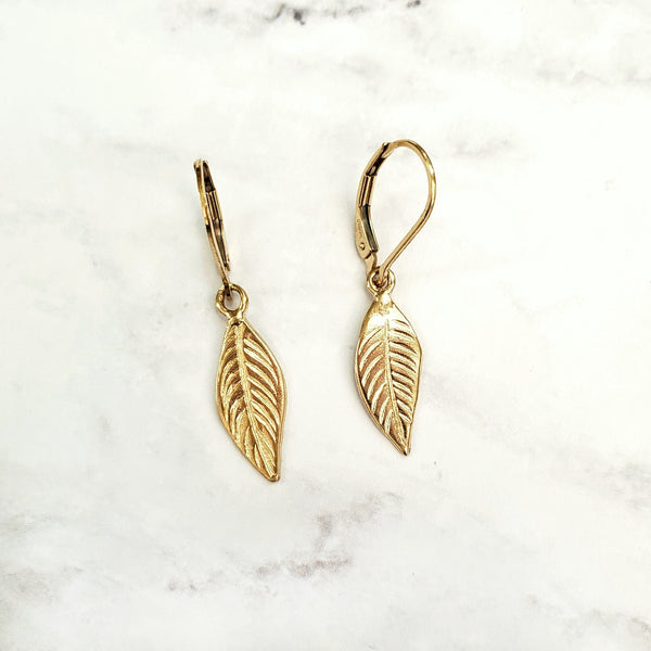 Leaf Charm Leverback Earrings