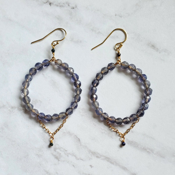 Iolite and Spinel Chandelier Earrings