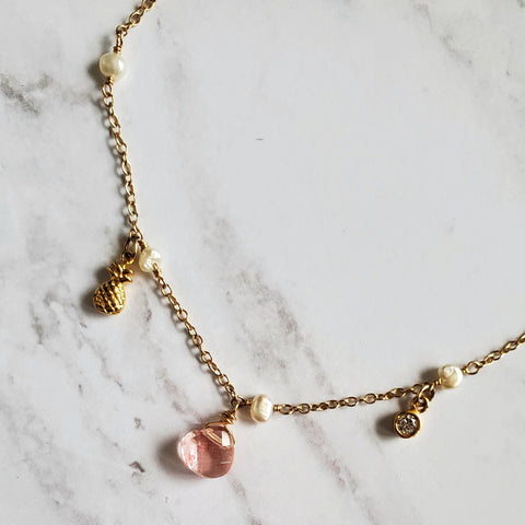 Pearl Pineapple and Pink Quartz Anklet