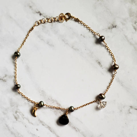 Pearl Quartz and CZ Horn Anklet