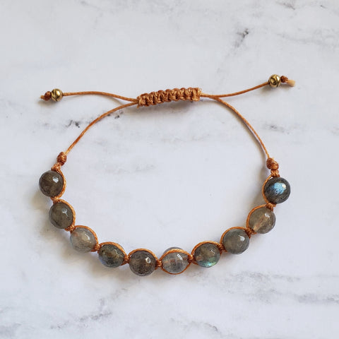 Gemstone Waxed Cord Bracelet