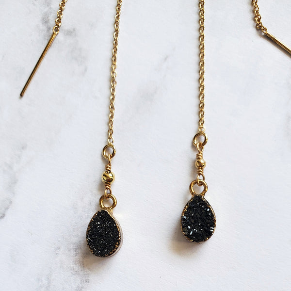 Black Druzy U-Threader Earrings