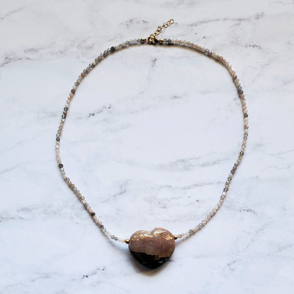 Ocean Jasper Heart and Moonstone Necklace