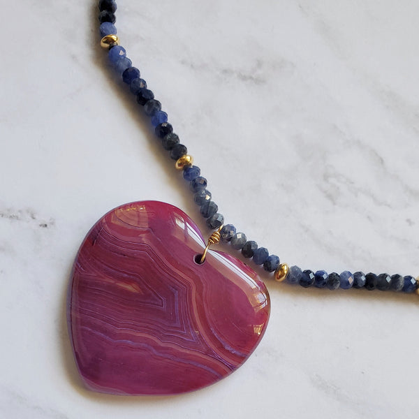 Onyx Agate Heart and Sodalite Necklace