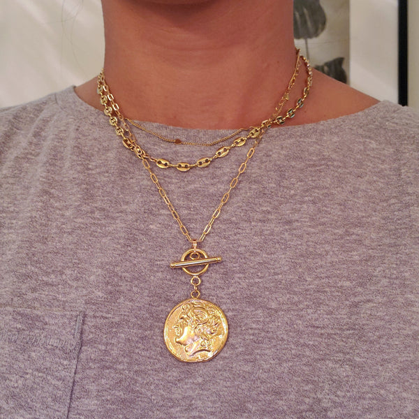 Gold Medallion Toggle Necklace
