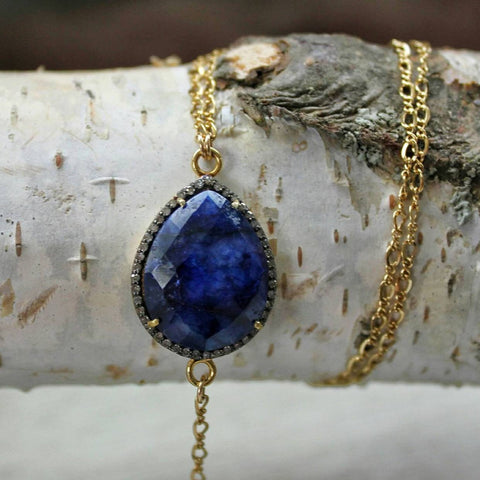 Pear Shaped Lapis and Diamond Pave Spike Lariat Necklace