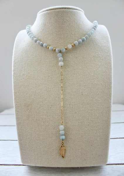 Aquamarine Bead and Gold Lariat