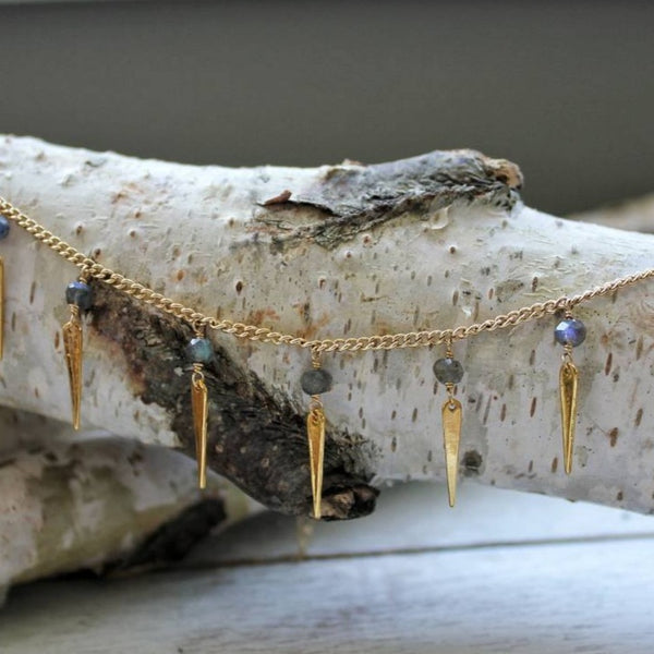 Labradorite Bead and Spike Necklace