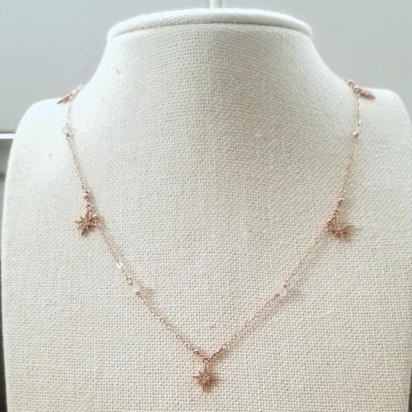 Cubic Zirconia Star Charm and Moonstone Necklace