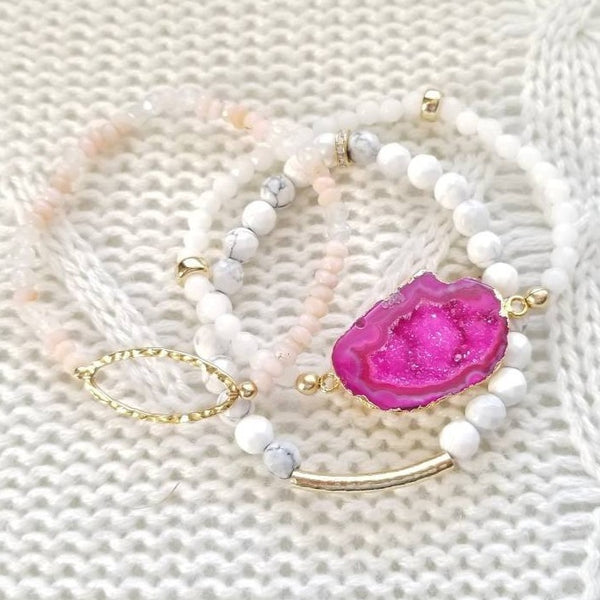 Pink Druzy Geode and White Jasper Stretch Bracelet