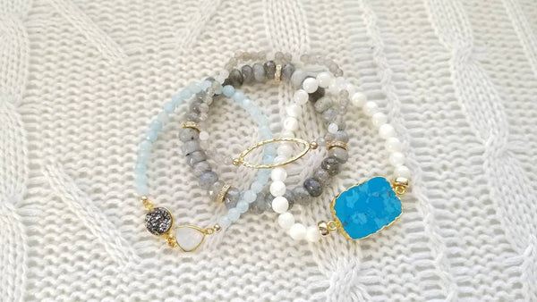 Aquamarine Bead, Platinum Druzy and Moonstone Stretch Bracelet