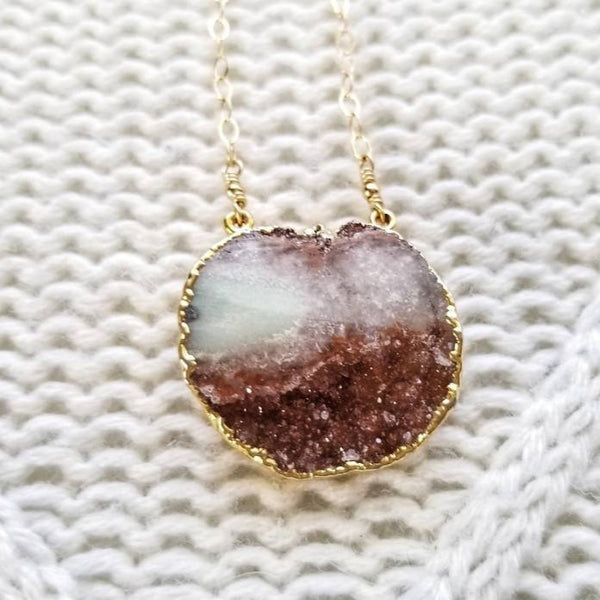 Fluorite Druzy Pendant Necklace
