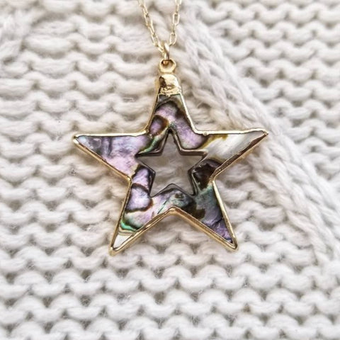 Abalone Star Pendant and Black Spinel Necklace