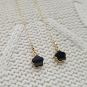 Black Resin Clover Threader Earrings