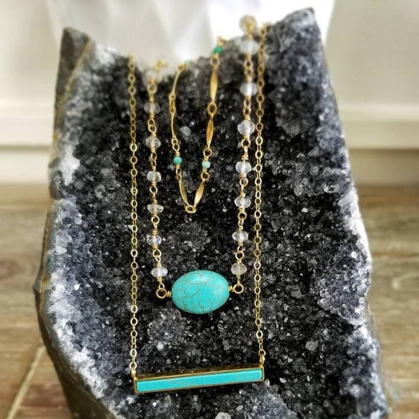 Turquoise Howlite Bar Pendant Necklace