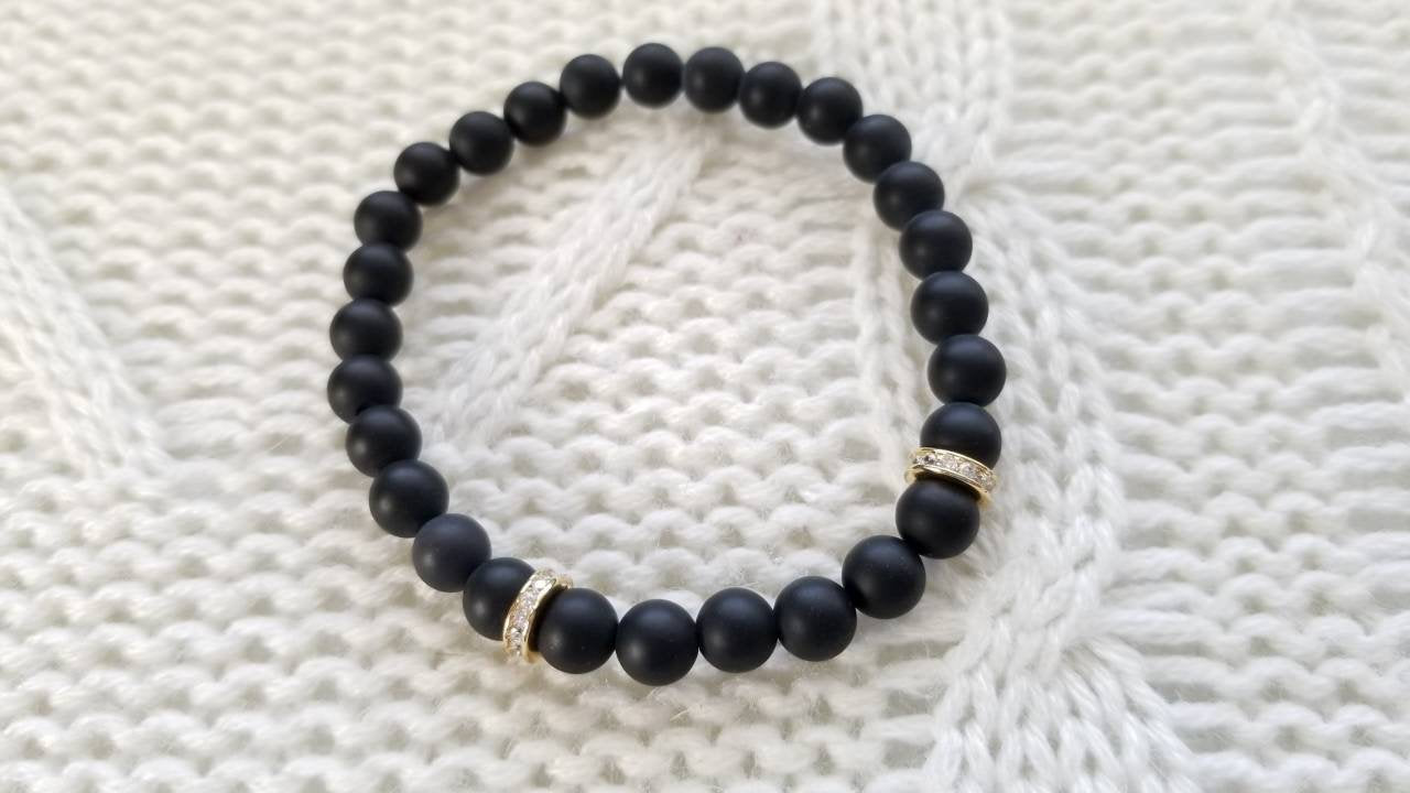 Black Agate and Cubic Zirconia Stretch Bracelet