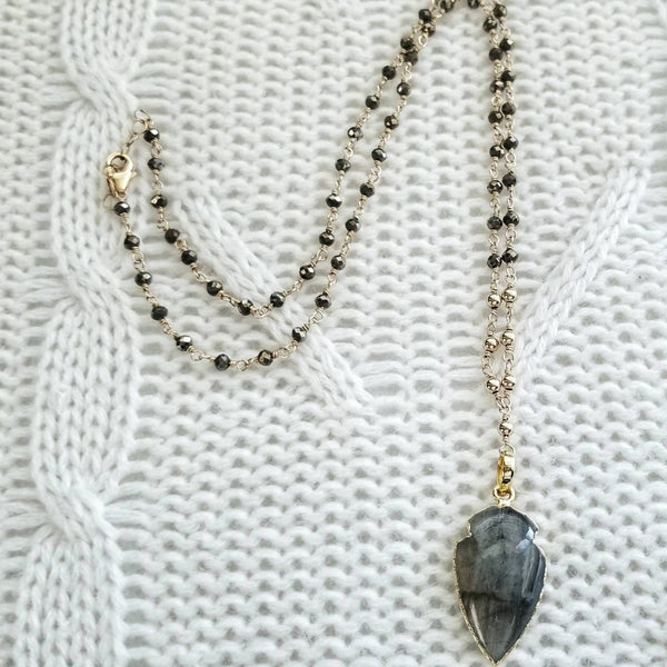 Labradorite Arrow Pendant and Pyrite Necklace