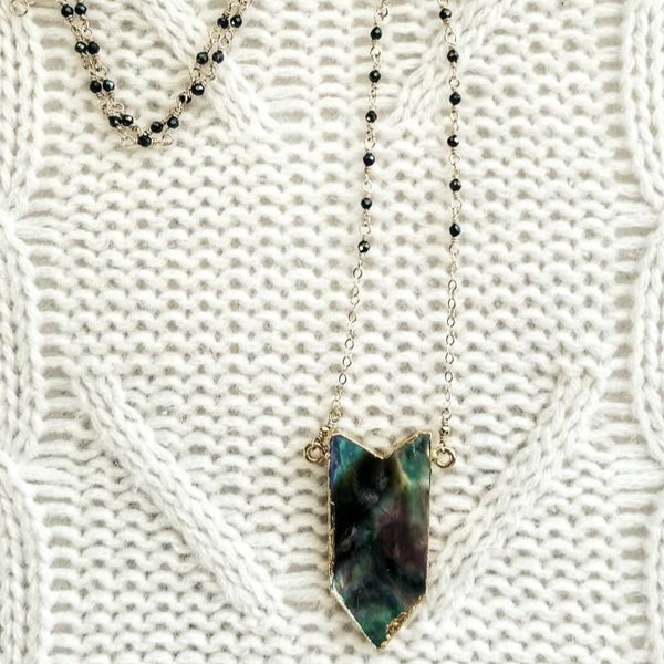 Abalone Pendant and Black Spinel Necklace