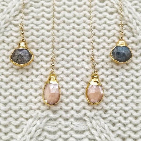 Labradorite or Mystic Peach Drop Threader Earrings