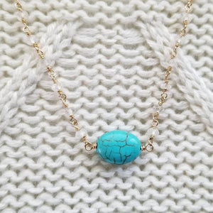 Turquoise Howlite Pendant and Rainbow Moonstone Beaded Necklace