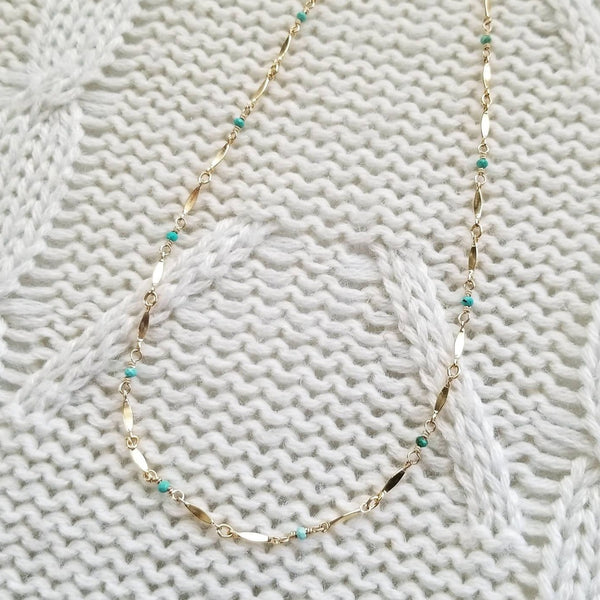 Turquoise Bead and Marquise Chain Necklace