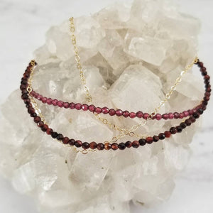 Red Tiger Eye or Garnet Beaded Gold Chain Bracelet
