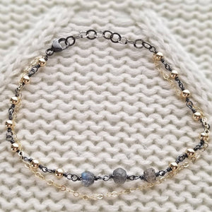 Oxidized Sterling Silver and Labradorite Beaded Gold Chain Bracelet