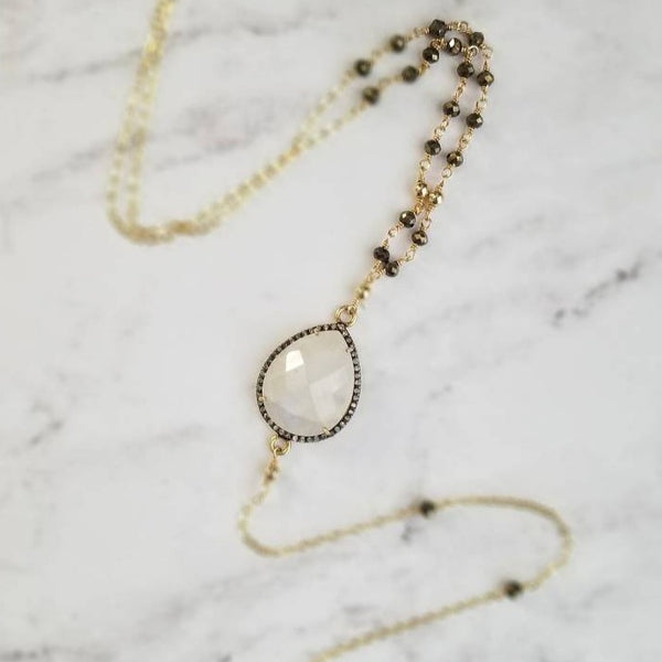 Rainbow Moonstone Diamond Pave Spike Lariat Necklace