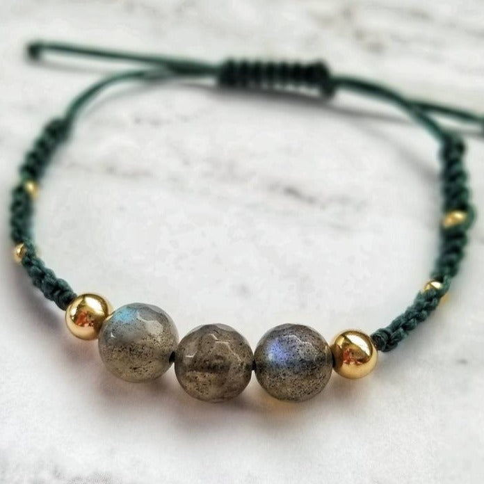 Labradorite and Gold Filled Bead Cord Bracelet