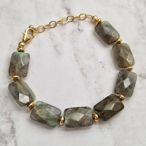 Labradorite and Gold Filled Saucer Stacking Bracelet