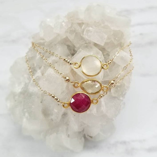 Natural Stone Connector and Gold Bead Bracelets