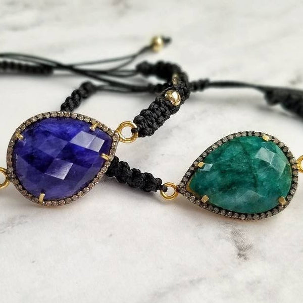 Lapis or Emerald and Diamond Pave Cord Bracelet
