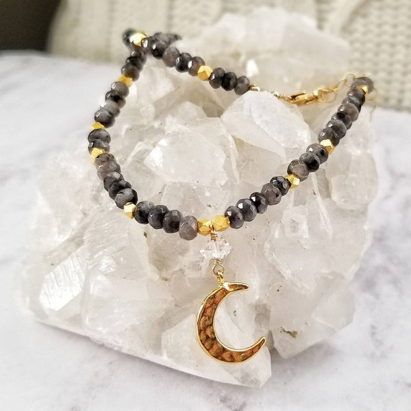 Larvikite Labradorite Beaded Crescent Necklace