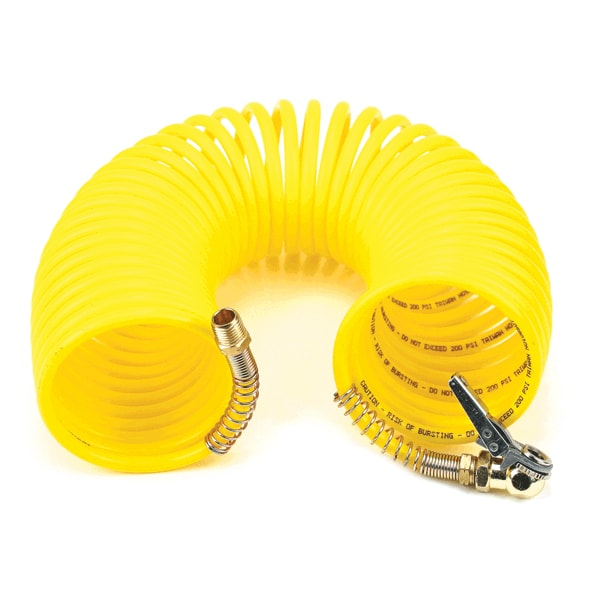 35 Ft. Coil Hose, with 1/4in M Swivel, with Close Ended Clip-On Chuck