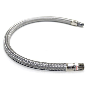 18in S.S. Braided Leader Hose (1/4in M to 1/4in M, NPT, Swivel)