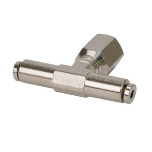 1/4in NPT(F) 1/4in to 1/4in Swivel T-Fitting (4 pcs) DOT Approved