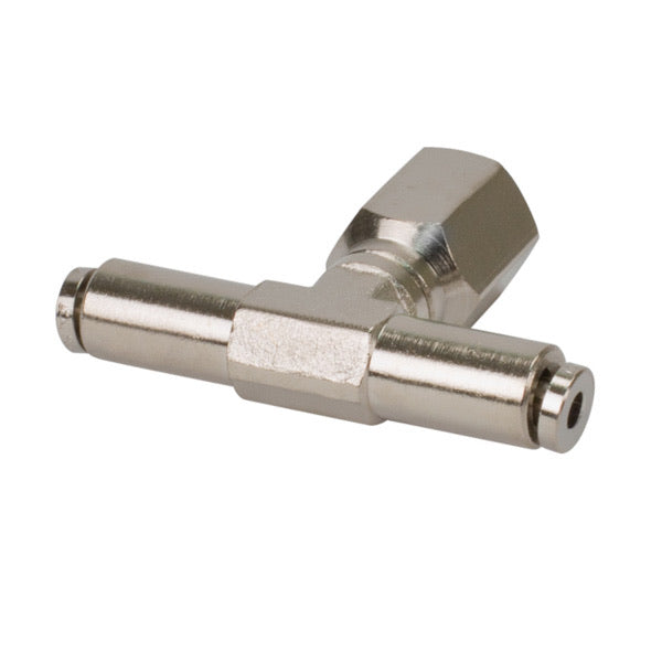 3/8in NPT(F) 1/4in to 1/4in Swivel T-Fitting (4 pcs) DOT Approved