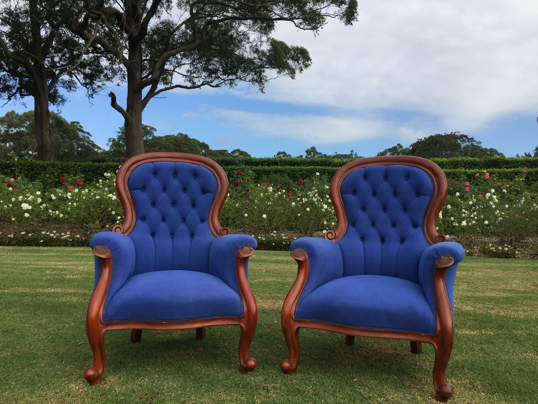 Royal blue arm chairs