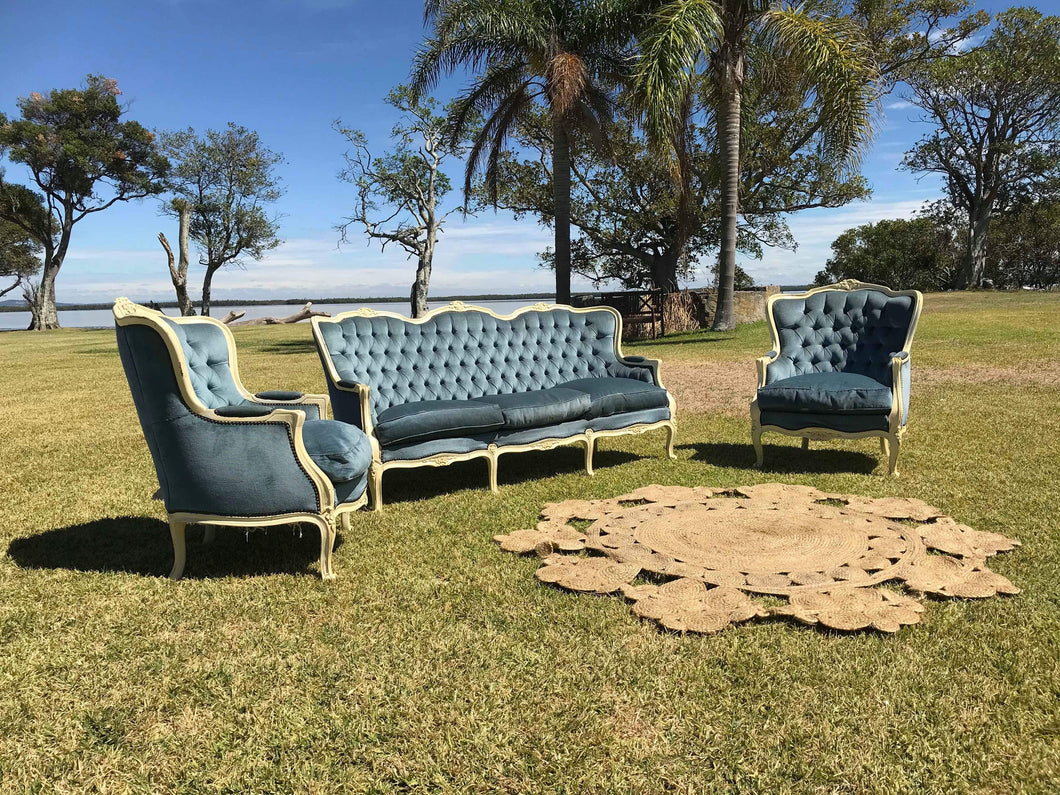 Blue 3 seater lounge
