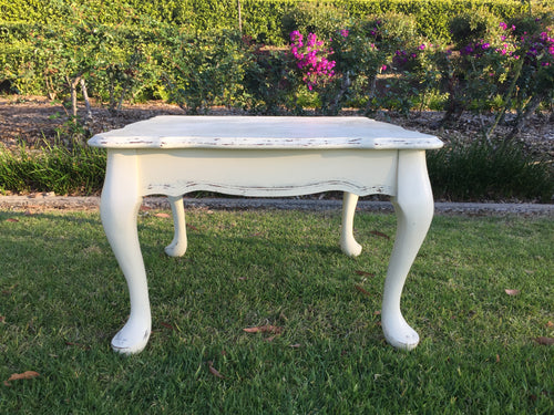 White vintage square table