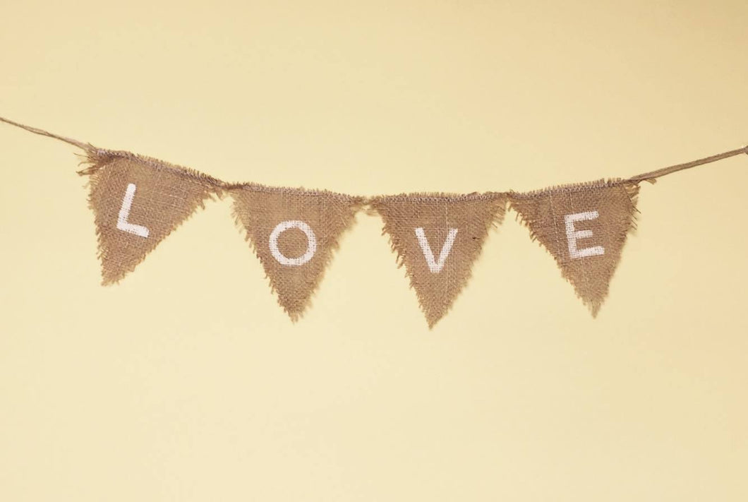 Bunting - LOVE - hessian