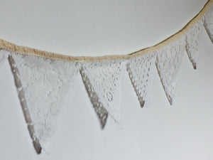 Bunting - White lace