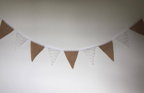 Bunting - lace and hessian