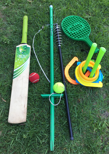 Kids games, cricket bat, orbit tennis, quoits
