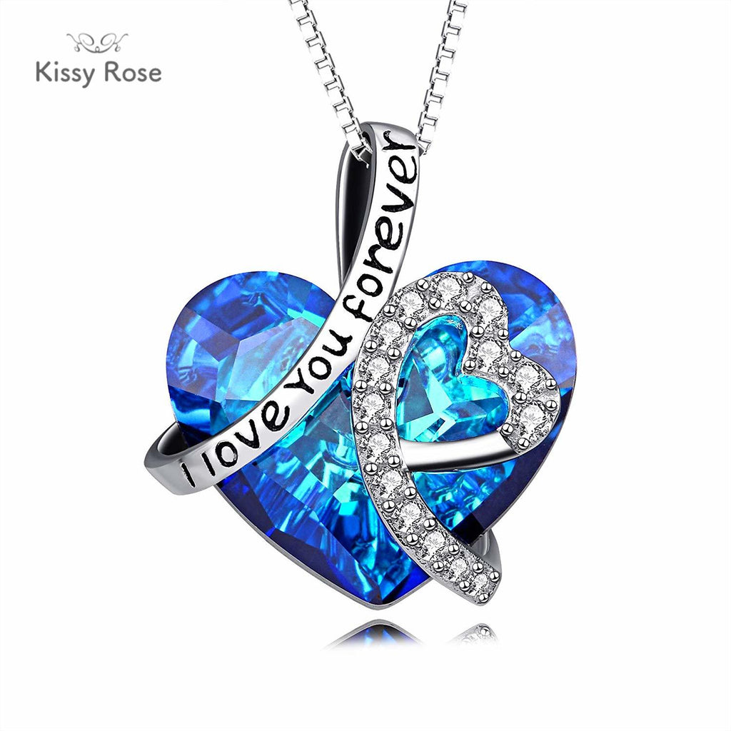 abe4812572871 Sterling Silver I Love You Forever Heart Pendant Necklace with ...