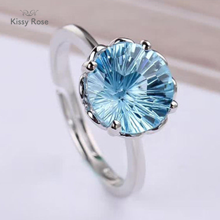 Kissy Rose S925 Silver Inlaid Natural Blue Topaz Ring