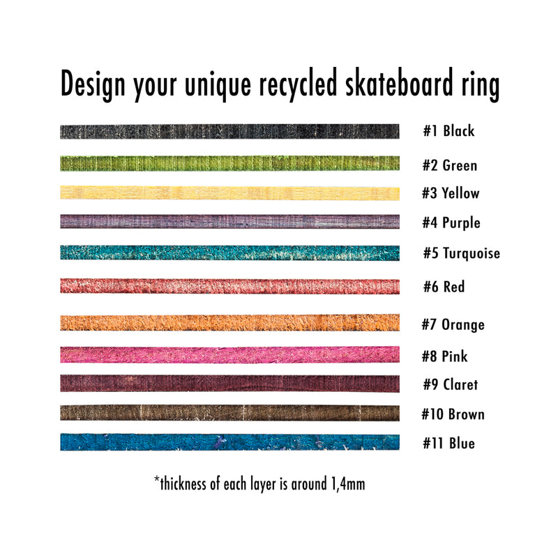Create your own custom recycled skateboard wooden ring - BoardThing