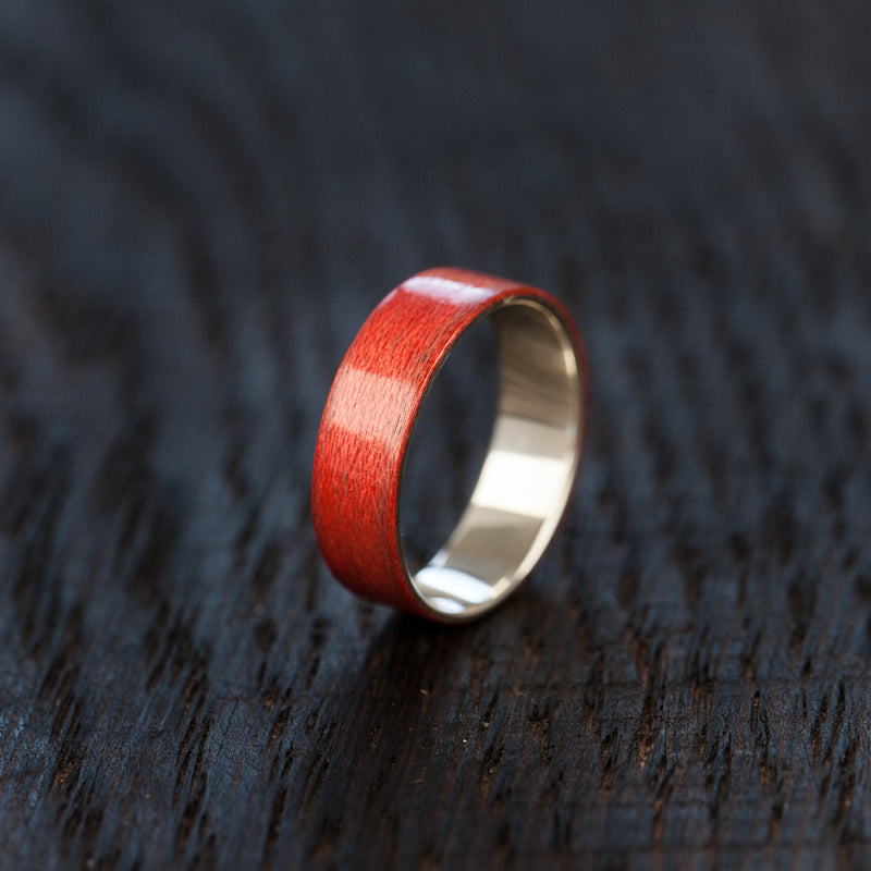 Red Recycled Skateboard Bentwood and Silver Ring - BoardThing