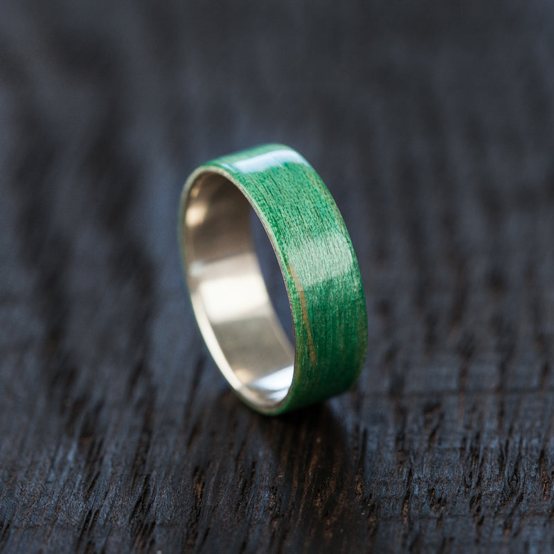 BoardThing green Recycled Skateboard Bentwood Ring - BoardThing